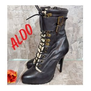 Aldo Laceup buckle with fur tall heel boots